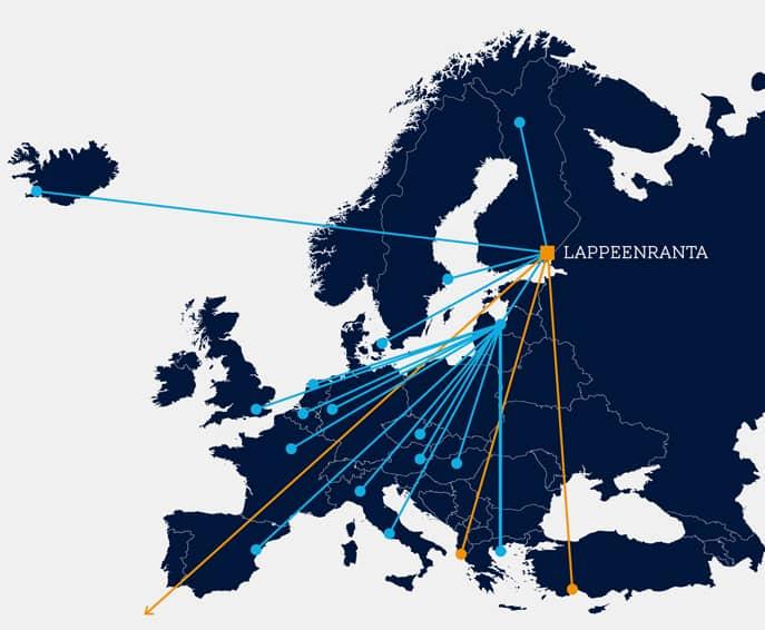 Прямые рейсы из в Европу из Лаппеенранты